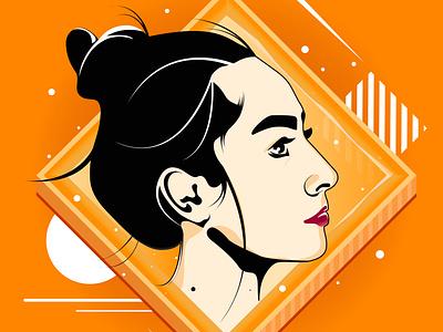 Iranian girl flat design vector illustration