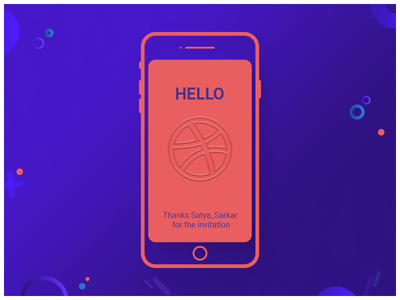 Hello Dribbble flat type header mobile website icon ux color welcome page thank you card layout vector invitation page uiux illustration concept design