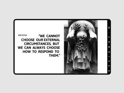 Quotes by Epictatus design black  white stoicism quote banner