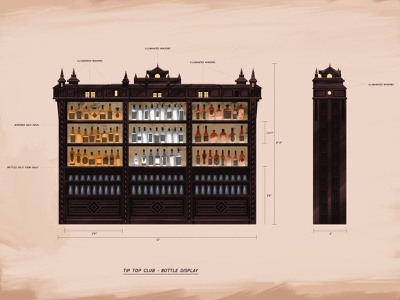 The Tip Top Club - Bottle Display theme park walt disney world theme parks disney illustration