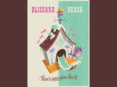 Blizzard Beach Retro Travel Poster midcentury vintage retro water park theme park walt disney world theme parks disney illustration