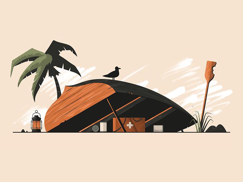 SOS orange seagull tree palm beach emergency island boat illustration