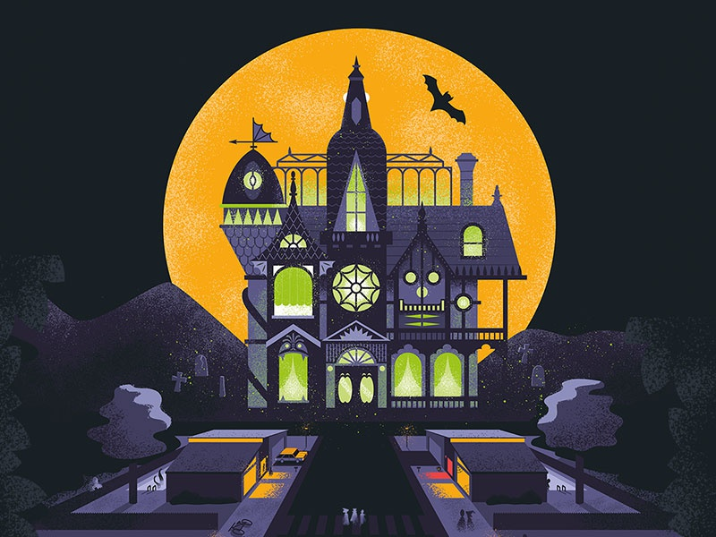 Epic Home Haunts Poster monster skull moon spooky bat ghosts mansion halloween