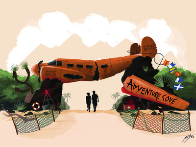Adventure Cove beach adventure plane theme parks illustration