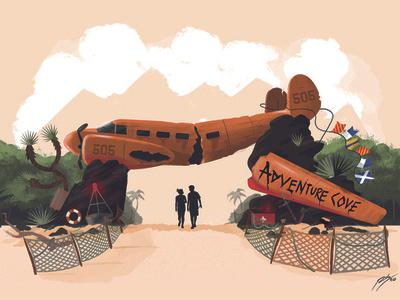 Adventure Cove beach adventure plane theme parks illustration