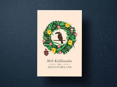 Christmasland Cards tiki disneyland wreath christmas walt disney world disney theme parks illustration