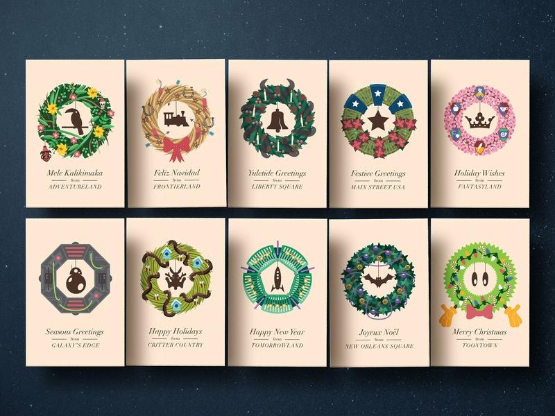 Christmasland Cards wreaths cards christmas graphic design walt disney world disney theme parks illustration