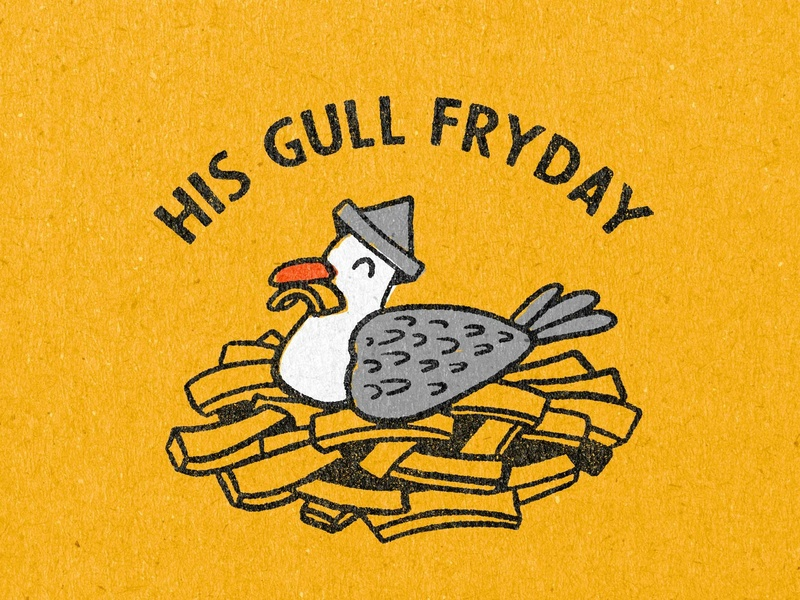 His Gull Fryday badge design vintage retro badge logo seagull badge illustration