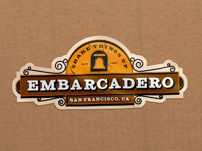 Embarcadero theme park badge logo earthquake universal studios illustration