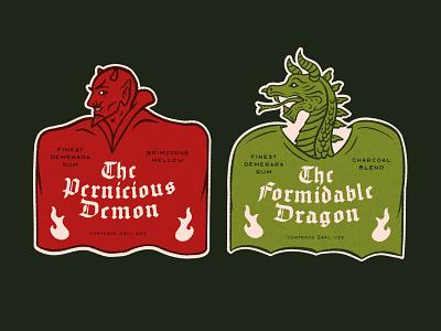 Rum Labels demon devil dragon label liquor rum illustration