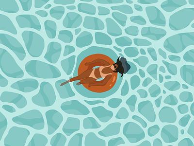 Summer 2020 illustration relax girl pool swimming waves water ocean masks summer