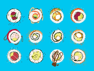 Types of Sushi chicken rolls salmon tuna california japanese food illustration avocado fish seafood food california roll rice sushi