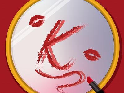 K 36 days of type lettering typography 36days-k lipstick mirror illustration design 36 days of type