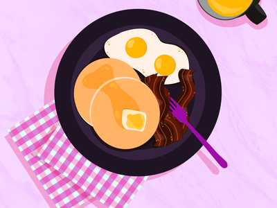 Q bacon pancakes eggs food breakfast 36days typography 36 days of type lettering vector design 36 days of type illustration