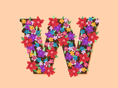 W dirt flowers 36days typography 36 days of type lettering vector design 36 days of type illustration