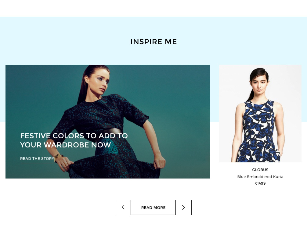 Inspire Me fashion website ecommerce website design brand inspire me blog design blog module