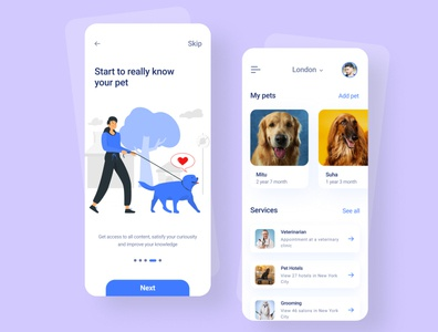 Pet Health Manager App Design clean app designer mobile ui kit app design ui design health pet health beauty dog mobile ui beautiful animal design mobile app typography branding ux ui