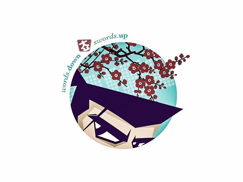 sword.up illustration modern digitized emblem samurai virtue word logo cartoon webtoon identity character