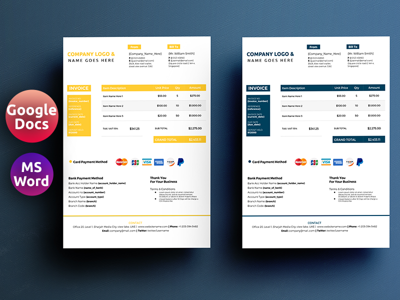 Google Docs Word Invoice Template By Rana Islam On Dribbble