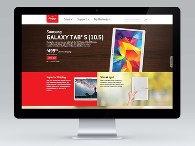 Verizon Wireless B2B Landing Page for Samsung Galaxy® Tab S