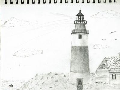 Lighthouse drawing   pencil ocean nighttime night beach lighthouse pencil sketches pencil sketch pencil art drawingart sketchbook