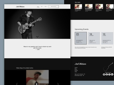 Joel Watson Dribbble Shot 2 portfolio design website design desktop musician illustration ux ui design ui design