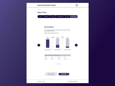 Social Security Calculator Redesign infographics information design infographic retirement pension social security government ux ui design ui sketch design