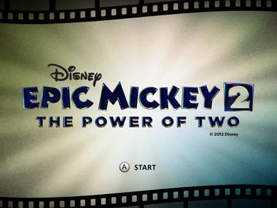 Epic Mickey 2 Video Game - Start Screen disney mickey mouse ui retro game