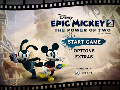 Epic Mickey 2 Video Game - Main Menu disney mickey mouse ui retro game