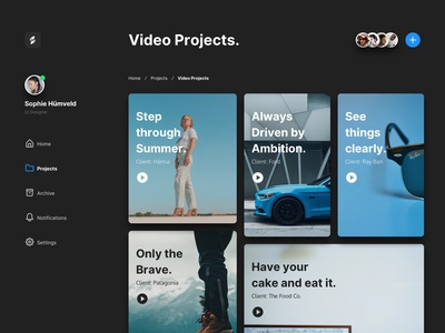 08. Video Projects. design system sketch ui