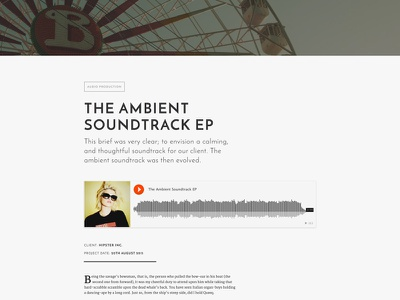 'Blueprint' Portfolio Page (Audio) portfolio themmed premium ui sketch