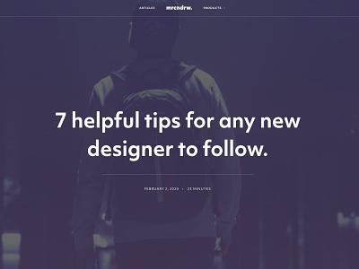 My new Blog (mrcndrw.com) Article Header ux ui typography