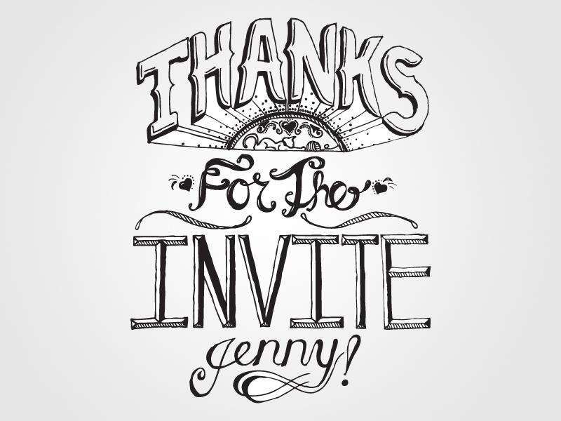 Invite hand lettering invite thanks illustration