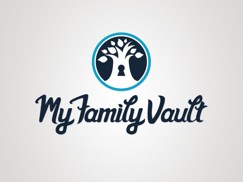 My Family Vault Logo logo hand lettering