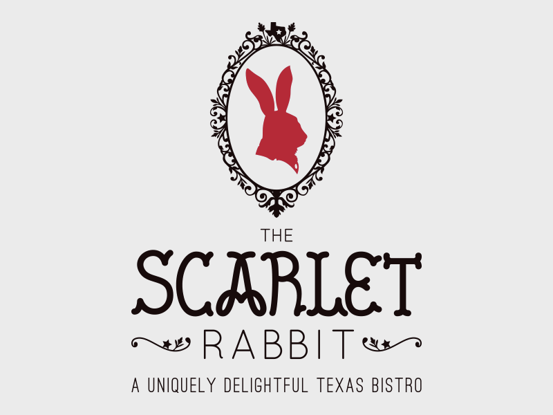 The Scarlet Rabbit texas hand lettering logo