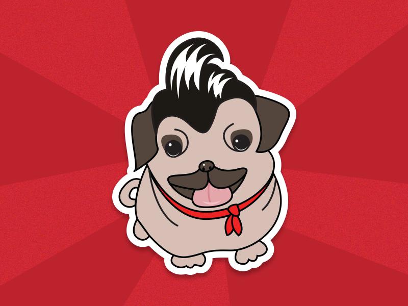 Plugabilly rockabilly sticker pug