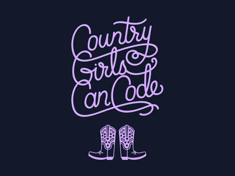 Country Girls Can Code lettering logo
