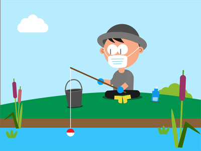 fishing during corona animated sticker gif animation sticker illustrator vector motion design motion character animation animatedgif animated aftereffects motiongraphics 2danimation animation loop gif