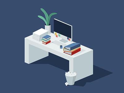 Busy Desk isometric clutter desk busy