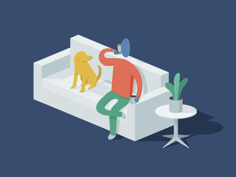 """Hey... Give me some of your coffee, guy."" isometric illustration dude plant dog couch"