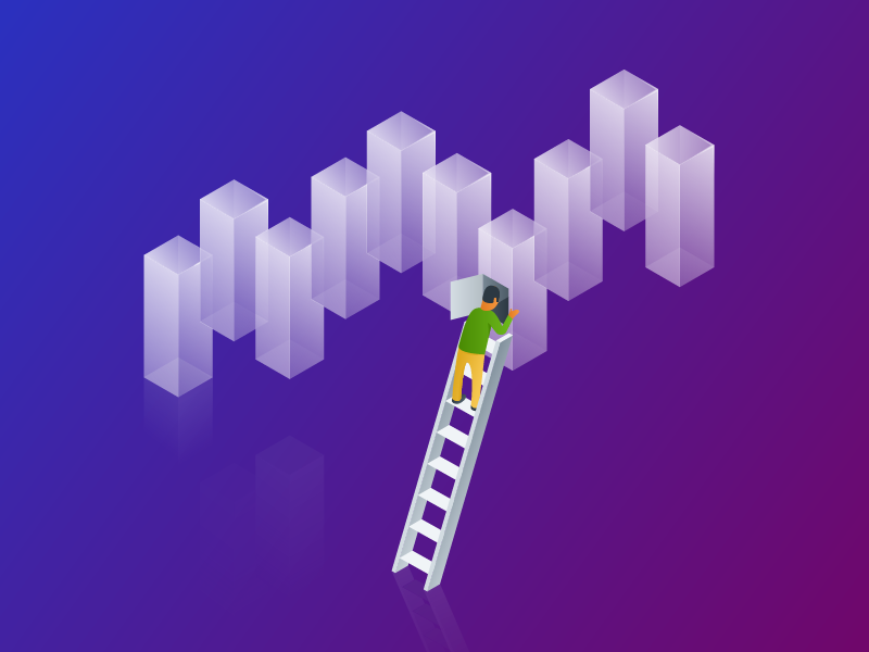 Enhanced Analytics ladder people graph analytics illustration