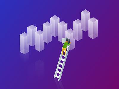 Enhanced Analytics ladder people graph analytics illustration