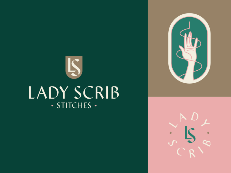 Lady Scrib Rebrand badge lockup logo hand stitches embroidery lady scrib