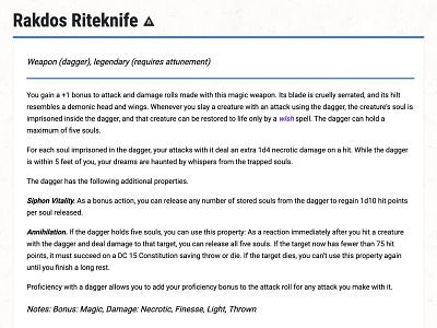 D&D Armory 002 - Rakdos Riteknife dnd rakdos knife dagger dungeons and dragons dndarmory
