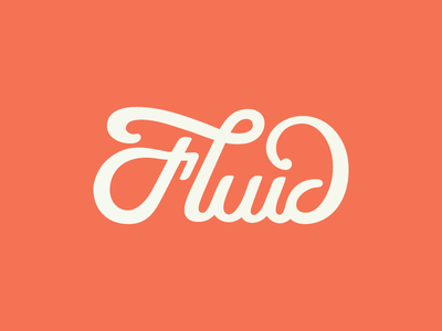 Fluid fluid logo script type logotype