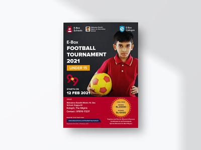 E-Box Football Tournament Poster school sports design promotion illustration poster design graphic design social media brand design branding