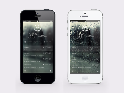 Weather iPhone Application Concept minimal ux application clean simply iphone ui commerce flat layout