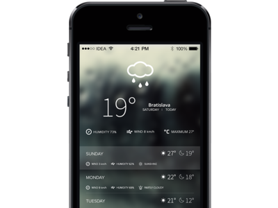 Weather iPhone Application Concept clean ux ui application minimal layout flat commerce iphone simply