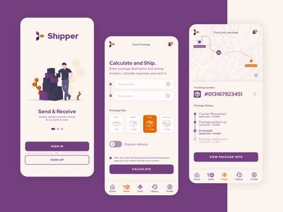 Shipper - UI/UX for Web and Mobile Delivery Service onboarding courier shipment parcel delivery mobile app mobile uiux ux ui