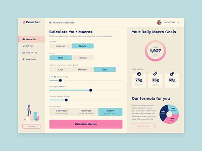 DailyUI 004 - Macro Calculator web app calorie kcal nutrition fitness 004 dailyui 004 dailyui calculator app calculator macros macro